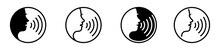 Woman Voice Command Icon With Sound Waves, Vector Illustration