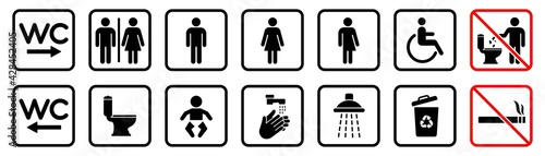 Fényképezés Toilet icons set, WC signs, toilet signs, bathroom symbol, vector illustration