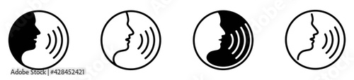 Fényképezés Voice command icon with sound waves, vector illustration