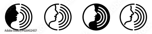 Photo Voice command icon with sound waves, vector illustration
