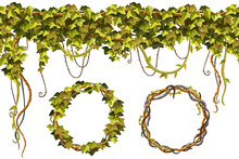 Ivy Frames, Wreath, Seamless Border. Liana Branches And Tropical Leaves. Set Game Cartoon Elements Of Creeper Jungle. Isolated Vector Illustration On White Background.