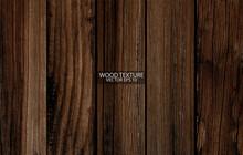 Dark Brown Wood Texture, EPS 10 Vector.  Old Wide Wooden Planks. Grunge Wooden Background.
