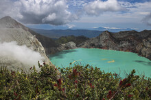 Ijen Crater Or Kawah Ijen Is A Volcanic Tourism Attraction In Indonesia, East Java.