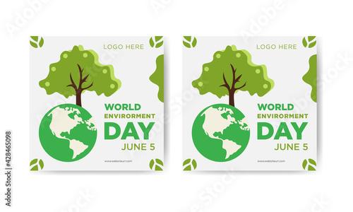 Fotografía World environment day square social media banner design template.