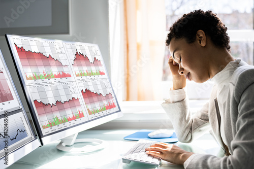 Trader Stock Loss And Decrease Fototapet