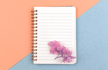 Elegant Notebook Mockup, Blank White Paper With Dried Flowers And With Copy Space, Top View, Concept Of Femenine Workspace