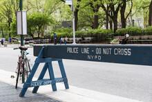 Polizeiabsperrung Auf Der Straße In New York City USA