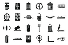 Danger Animal Trap Icons Set, Simple Style