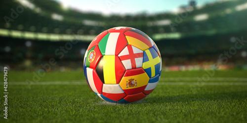 Fototapeta Soccer Football ball with flags of european countries on the grass of football stadium. Euro championship 2021. obraz