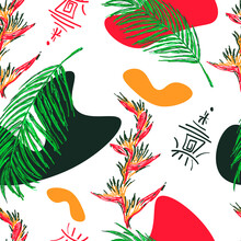 Tropical Leaves And Flowers. Seamless Pattern For Design Of Fabric Or Wrapping Paper.Tropical Motives.