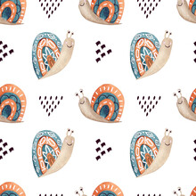 Watercolor Seamless Pattern In Scandinavian Style For Fabric, Textile, Kids.