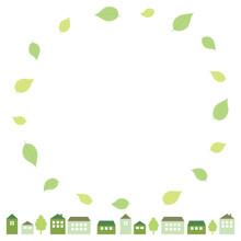 緑の葉と街並みのフレーム