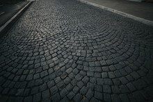 Closeup Of The Old Cobblestone Pavement