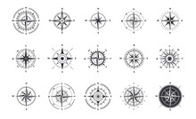 Compass Icons. Wind Rose With North Orientation, Sea Navigational Equipment Antique Symbols. Cartographic And Geographic Signs Set. Vector Silhouettes Of Vintage Nautical Instruments