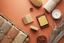 Handmade Soap Surrounded By Bathroom Accessories. Cozy Home Textiles And Body Care With Organic Products. View From Above.