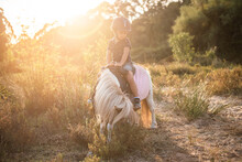 Little Boy On Top Of A Pony In The Field At Sunset. Child Riding A Little Horse, Pony
