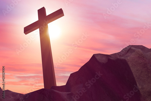 Religious concept with cross against sky Wallpaper Mural