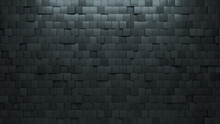 Square Tiles Arranged To Create A Futuristic Wall. Concrete, Semigloss Background Formed From 3D Blocks. 3D Render