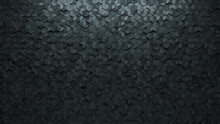 Diamond Shaped, 3D Wall Background With Tiles. Futuristic, Tile Wallpaper With Concrete, Polished Blocks. 3D Render
