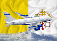 Vatican Flag With White Airplane And Clouds. The Concept Of Tourist International Passenger Transportation.