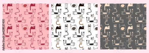 Vector set of patterns with cute cats in doodle style in monochrome color on a colored background. Children's illustration for pajamas, clothing, postcards, packaging paper, pet stores