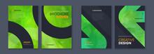 Watercolor Booklet Brochure Green Abstract Cover Template Bundle Set With Black Background