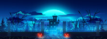 Panorama Entrance Gate Graveyard Decorate With Halloween Pumpkin Lamp On Dark Blue Themeon Background Silhouette Castle And Big Moon On Night Sky For Halloween Night Concept, Illustration Picture.