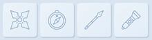 Set Line Japanese Ninja Shuriken, Medieval Spear, Compass And Flashlight. White Square Button. Vector