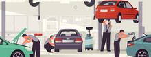 Car Service And Repair. Auto Workshop Interior, Mechanics Men Service Vehicles. Vector Illustration