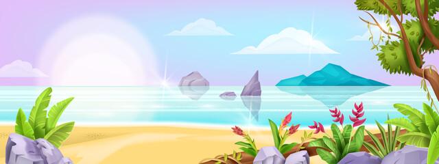Fototapeta na wymiar Summer beach landscape, vector ocean exotic background, tree foliage, sea, tropical island, sand, rock. Paradise idyllic nature Hawaii seascape, resort holiday view. Beach landscape shore illustration