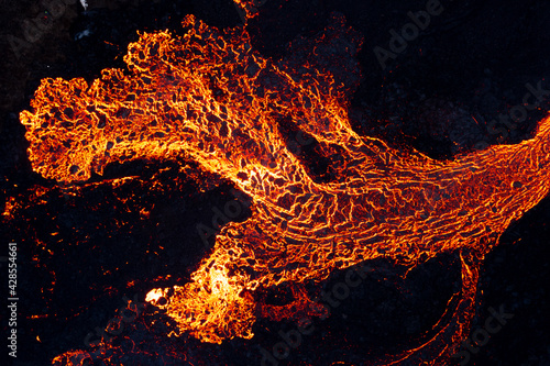 Carta da parati lava eruption volcano aerial view drone view from Iceland of Hot lava and magma