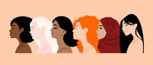 Multinational Different Women Beauties, African, Asian, European, Arab, Indian, Albino, Brave And Strong Women Support Each Other, Female Friendship. Struggle For Rights, Independence, Equality.