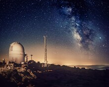 Astronomical Observatory Dome Investigating The Milky Way On A Starry Night