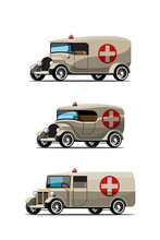 Set  Mockup Of Emergency Car In Retro Style Design Vector