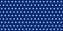 Blue Banner. Rows Of White Five-pointed Stars On A Blue Background. Seamless Texture. Geometric Pattern