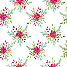Watercolor Christmas Floral, Poinsettia Pattern