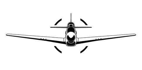 Vector P-51 mustang WW2 military airplane front view illustration