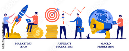 Lerretsbilde Marketing team, affiliate marketing, macro marketing concept with tiny people