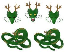 Green Dragon Face Whole Body Set