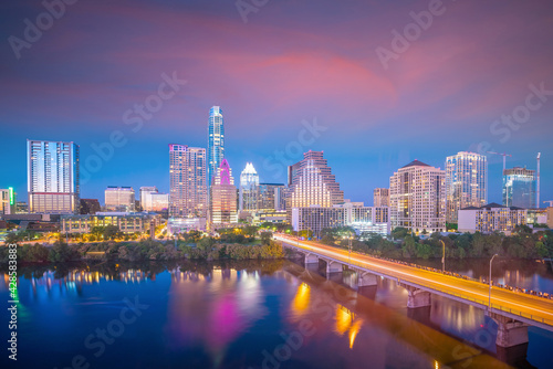 Fotografiet Downtown Skyline of Austin, Texas in USA from top view