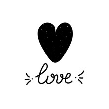 Love Handwritten Inscription Next To A Black Heart With White Polka Dots. Great For Valentine's Day, Baby Shower, Print, T-shirt Design. Vector Illustration