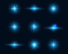 Blue Light On A Transparent Background. A Set Of Nine Bright Highlights. Bright Blue Flares And Highlights. Bright Rays Of Light. Christmas Effects. Vector Illustration