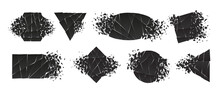 Shape Shattered And Explodes Flat Style Design Vector Illustration Set Isolated On White Background. Triangle, Hexagon, Ellipse, Rectangle And Rhombus Shapes In Grayscale Gradient Exploding Collection