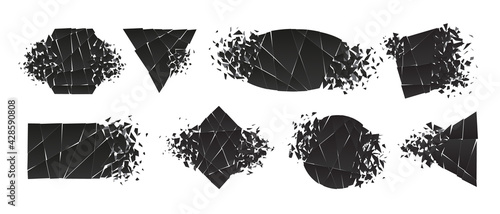 Shape shattered and explodes flat style design vector illustration set isolated on white background. Triangle, hexagon, ellipse, rectangle and rhombus shapes in grayscale gradient exploding collection - fototapety na wymiar
