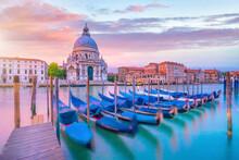 Grand Canal In Venice, Italy With Santa Maria Della Salute Basilica