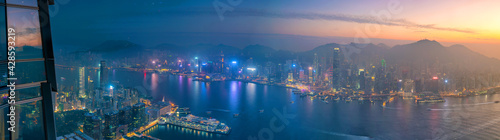 Fotografia, Obraz Hong Kong city skyline with Victoria Harbor view