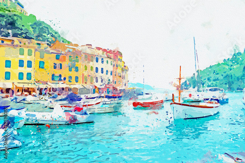 Obraz na plátně Watercolor drawing picture of portofino coast beautiful town at Italy