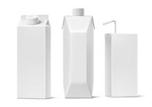 Vector Juice Milk Cardboard Package Mockup Set