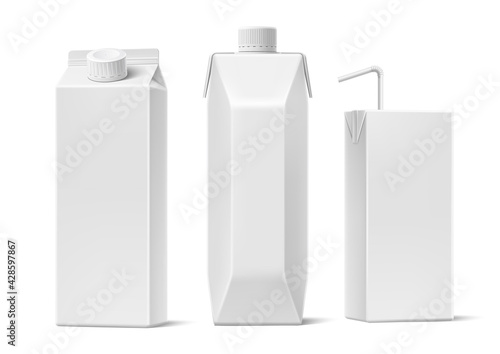 Fotografie, Obraz Vector juice milk cardboard package mockup set