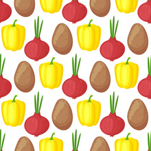 Seamless Pattern With Hand Drawn Colorful Vegetables. Sketch Style Vector Set. Vegetables Flat Icons Set: Paprika, Onion, Potato.